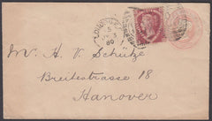 72502 - 1870 1D PINK ENVELOPE LONDON TO HANOVER UPRATED 1½D SHIELD (SG51). 1870 1d pink envelope to Hanover up-rated with 1½d...