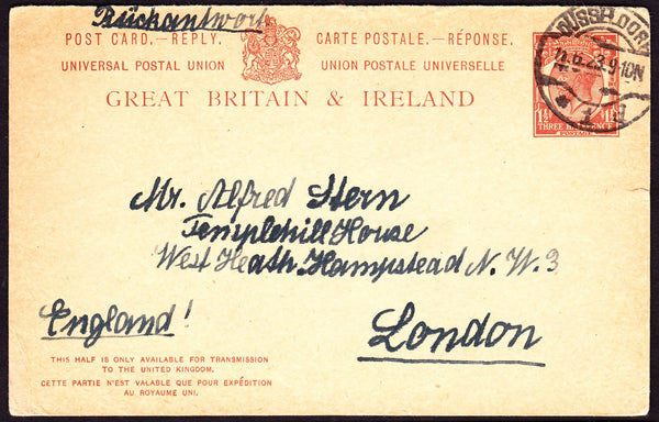 "72526 - 1923 UPU 'POST CARD REPLY' PAID DUSSELDORF TO LONDON. A fine 1923 UPU post card reply paid with printed KGV 1½d roppstpostal stationery ""postcard reply"" ..."