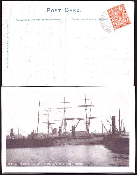 "72533 - 1921 postcard of ""H.M.S. Ractolus and Submarines, ..."