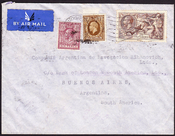 72727 - 1937 2/6D SEAHORSE (SG450) ON COVER LONDON TO ARGENTINA. Envelope London to Argentina with KGV 6d, 1/-...