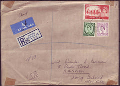 72809 - 1964 REGISTERED MAIL SUTTON COLDFIELD TO USA/5/- CASTLE. Envelope Sutton Coldfield (F.J.Field) to New ...