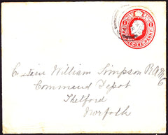 73006 - 1918 MAIL TO THETFORD WITH KGV 1D SCARLET POSTAL STATIONERY CUTOUT.