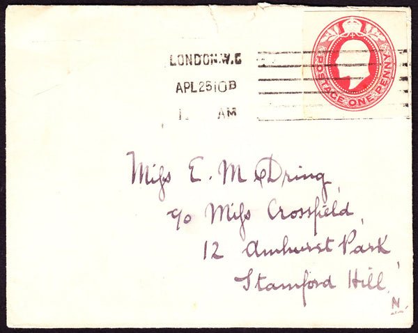 73010 - 1910 KING EDWARD VII 1D POSTAL STATIONERY CUTOUT ON ENVELOPE.