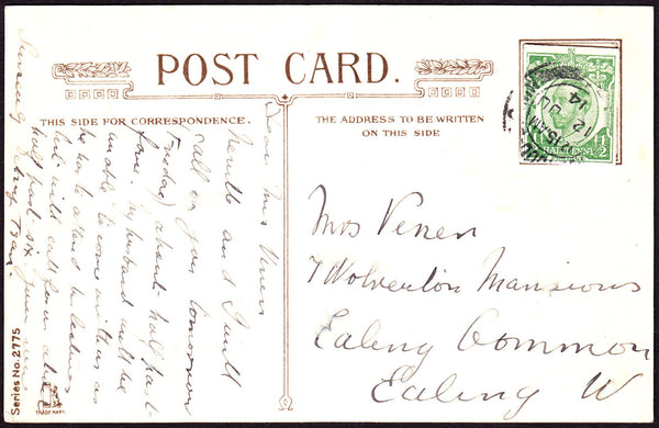 73013 - KGV ½ DOWNEY CUT-OUT ON 1914 POST CARD. Post card of St Pau...