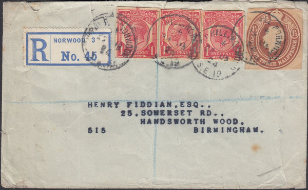 73016 - 1924 REGISTERED MAIL NORWOOD TO BIRMINGHAM WITH KGV POSTAL STATIONERY CUTOUTS.