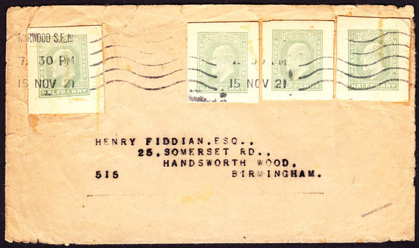 73018 - 1921 KING EDWARD VII POSTAL STATIONERY CUTOUT ON MAIL NORWOOD TO BIRMINGHAM.