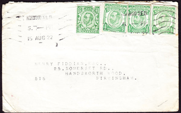 73019 - KGV ½D DOWNEY POSTAL STATIONERY CUTOUT x 3 AND ISSUED STAMP ON 1922 COVER. Envelope Norwood to...