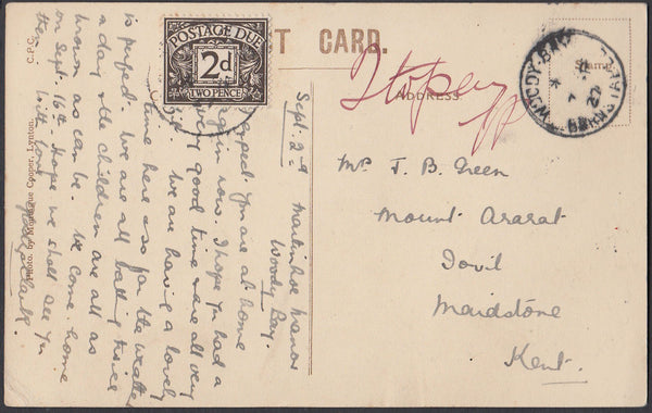 73038 - DEVON/KENT/POSTAGE DUE. 1927 post card of Woody Ba...