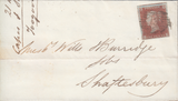 73165 - Pl.87(LD)(SG8) ON COVER. 1849 wrapper London to Shaftesbury...