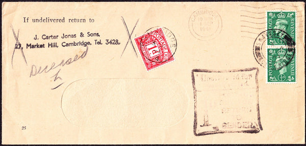 73205 - 1941 POSTAGE DUE. Window envelope from Cambridge w...
