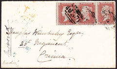 "73233 - CRIMEAN WAR/KENT(PL.9 RH RI RJ). 1856 envelope Sevenoaks to ""Doug..."
