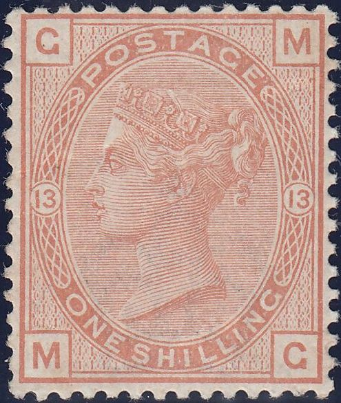 73292 - 1881 1/- ORANGE-BROWN PL.13 (SG163) MINT.