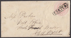 "73376 - THE BOXED ""EXETER"" HANDSTAMP USED 1855 ON 1D PINK...."