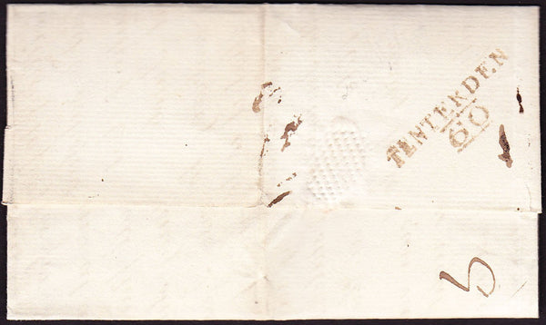 "73385 - KENT. 1822 letter Tenterden to Charing with ms ""8""..."