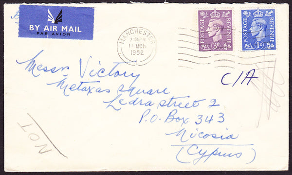 73410 - 1952 envelope Manchester to Cyprus with KGVI 3d an...