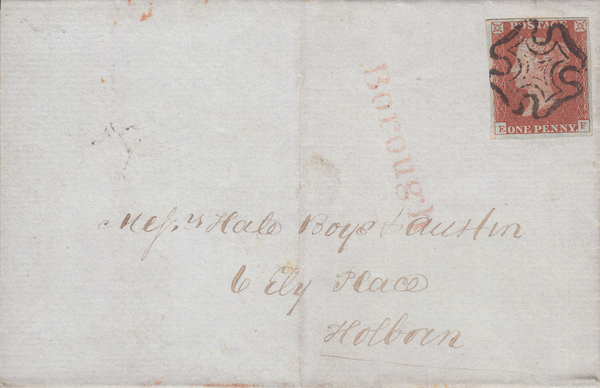 73462 - 1843 LONDON MALTESE CROSS ON COVER/PL.35(EF)(SG8). 1843 entire use...