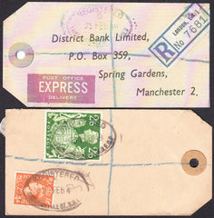 73552 - BANKERS'S PARCEL TAG. 1949 tag with printed addres...