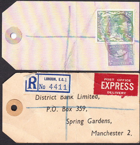 73555 - 1949 BANKER'S PARCEL TAG. Tag from London with pri...