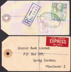 73557 - 1949 BANKER'S PARCEL TAG. Tag from London with pri...