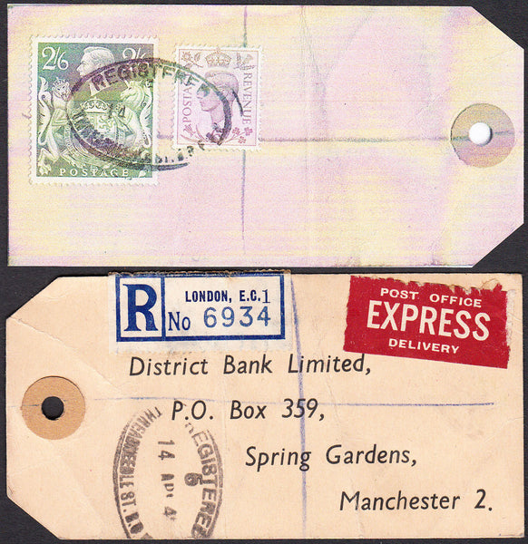 73558 - 1948/9 BANKER'S PARCEL TAG 2/6D YELLOW-GREEN (SG476b). Tag from London with p...