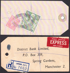 73561 - 1948 BANKER'S PARCEL TAG 2/6D YELLOW-GREEN (SG476b). Tag from london with pri...