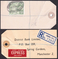 73563 - 1949 BANKER'S PARCEL TAG 2/6D YELLOW-GREEN (SG476b). Tag from London with pri...