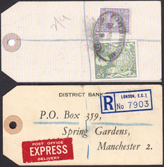73565 - 1948 BANKER'S PARCEL TAG 2/6D YELLOW-GREEN (SG476b). Tag from London with pri...