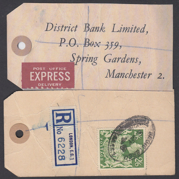 73567 - 1948 BANKER'S PARCEL TAG. Tag from London with pri...