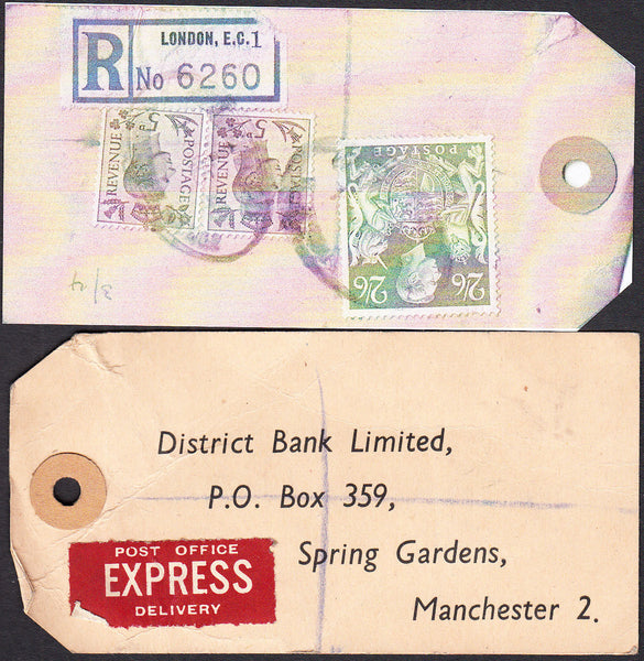 73568 - 1948/9 BANKER'S PARCEL TAG. Tag from London with p...