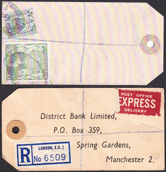 73569 - 1949 BANKER'S PARCEL TAG. Tag London with printed ...