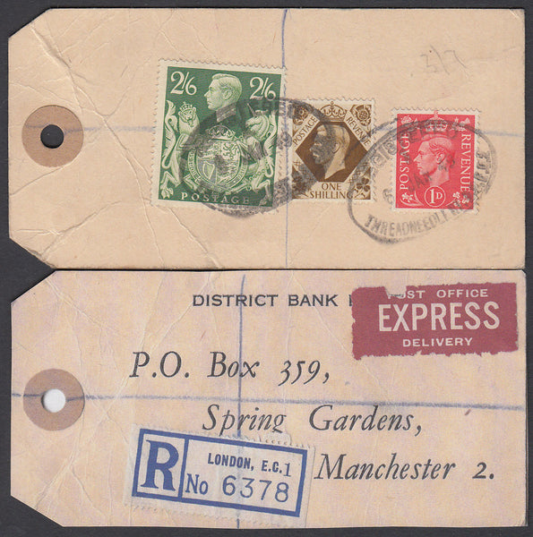 73571 - 1949 BANKER'S PARCEL TAG. Tag from London with pri...