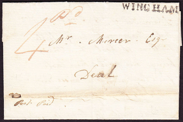 73578 - KENT. 1835 letter Wingham to Deal with fine strike...
