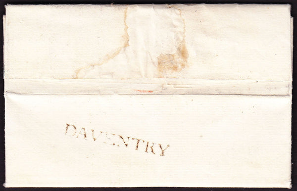 73627 - 1790 NORTHANTS/DAVENTRY HAND STAMP(NN42).  1790 entire Daventry to Rugby da...