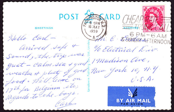 73776 - 1959 post card London to New York with 8d Wilding ...