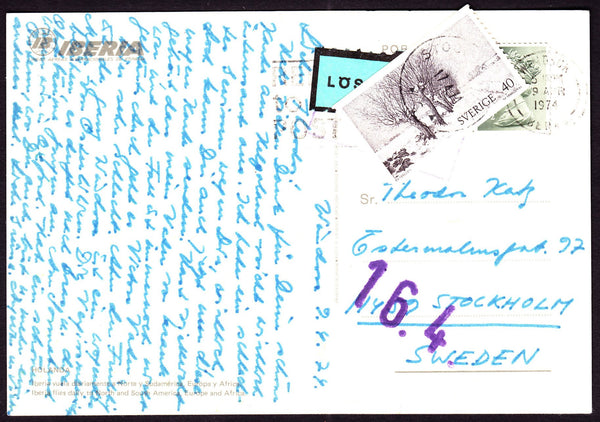74113 - 1974 UNDERPAID MAIL WINDSOR TO SWEDEN. Post card Windsor to Stockholm wi...