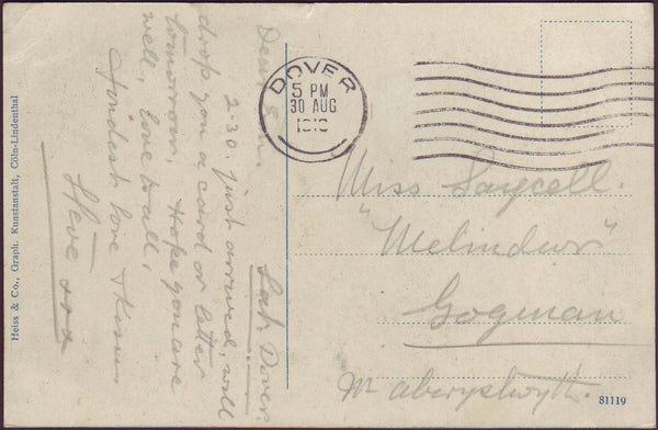 74262 - 1918 (?) UNPAID MAIL DOVER TO ABERYSTWYTH. Post card Dover...