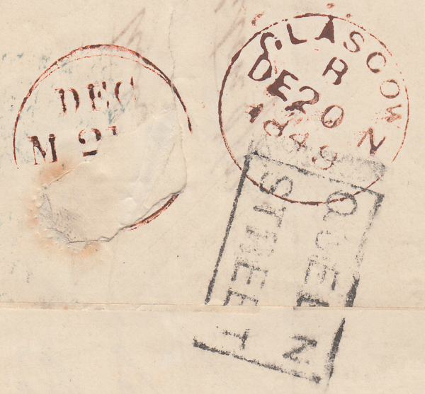 74405 - Pl.89 (NC)(SG8) ON COVER. 1849 letter Glasgow to Bradford w...