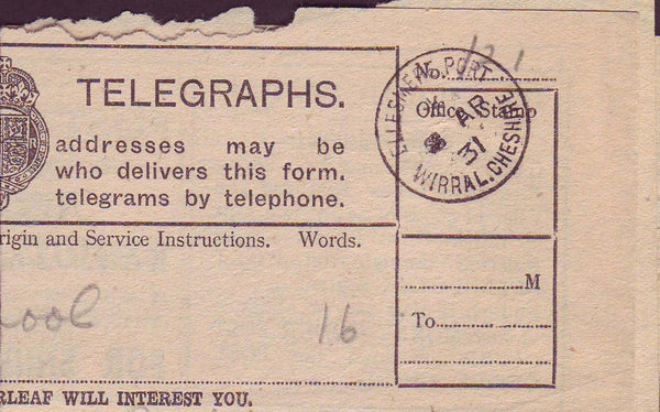 74456 - POST OFFICE TELEGRAPH/CHESHIRE/LANCASHIRE. 1931 fo...
