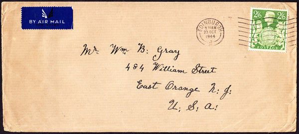 74498 - 1944 MAIL EDINBURGH TO USA 2/6D YELLOW-GREEN (SG476b). Large envelope (228x102) Edinburgh to New Jersey USA with KG...