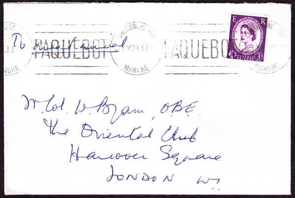 74588 - 1959 FRENCH PAQUEBOT. Envelope to London with 3d Wilding ...