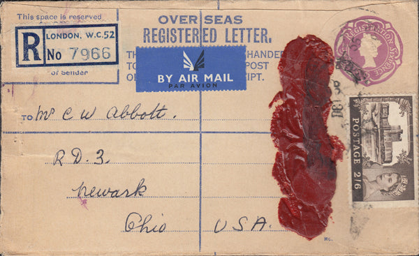 74662 - 1956 REGISTERED MAIL LONDON TO USA/2/6D CASTLE.