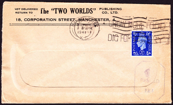 "74673 - 1941 window envelope from The ""TWO WORLDS"" Publish..."