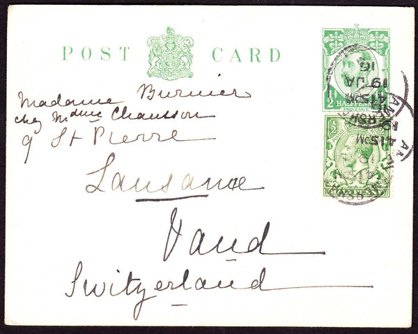 74679 - 1916 KGV ½d Downey postcard Amersham to Switzerlan...