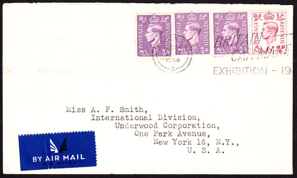 74685 - 1946 envelope London to New York with KGVI 3d x 3 ...