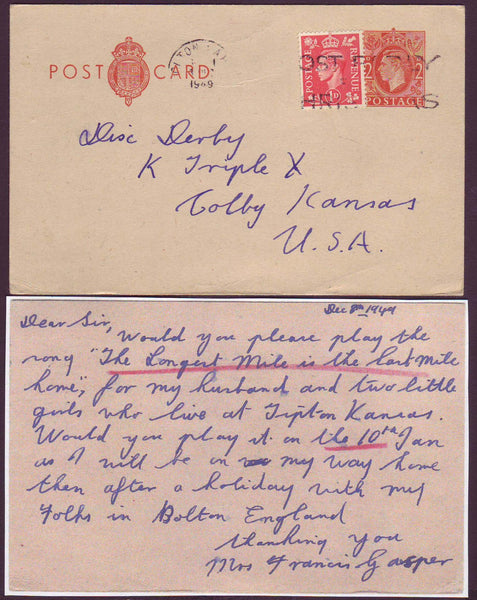 74703 - 1949 KGVI 2d postcard Bolton to Kansas up-rated wi...