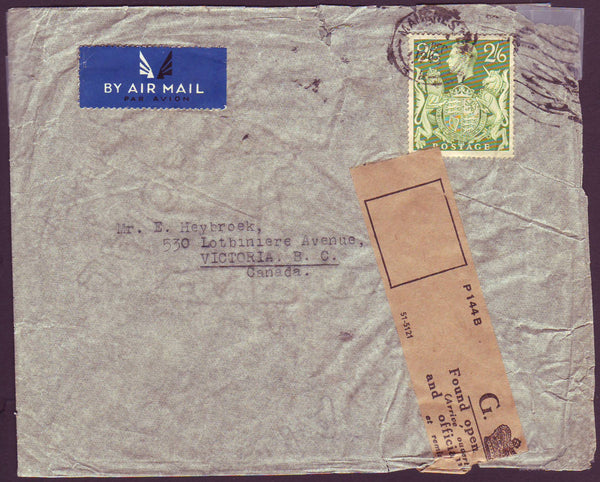 74711 - 1945 MAIL MANCHESTER TO CANADA/OFFICIALLY RESEALED. Envelope Manchester to Canada with KGVI 2/6d ...