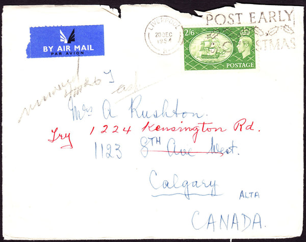 74714 - 1954 envelope (roughly opened at top) Liverpool to...