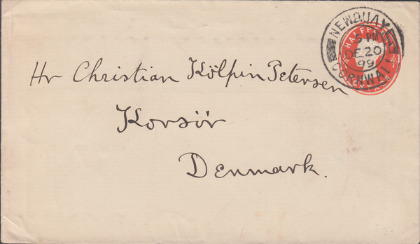 74742 - 1899 QV ½d vermilion postal stationery envelope to...