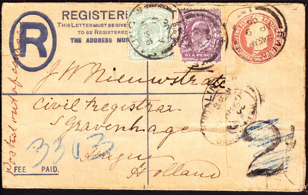 "74774 - 1906 REGISTERED MAIL ""POSTED OUT OF COURSE"" EALING TO HOLLAND. Fine KEDV..."