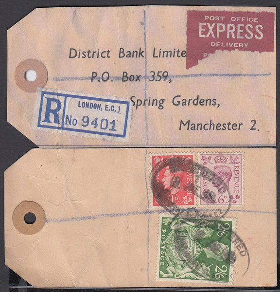 "74823 - ""BANKER'S PARCEL TAG"". 1949 tag London to ""Distric..."